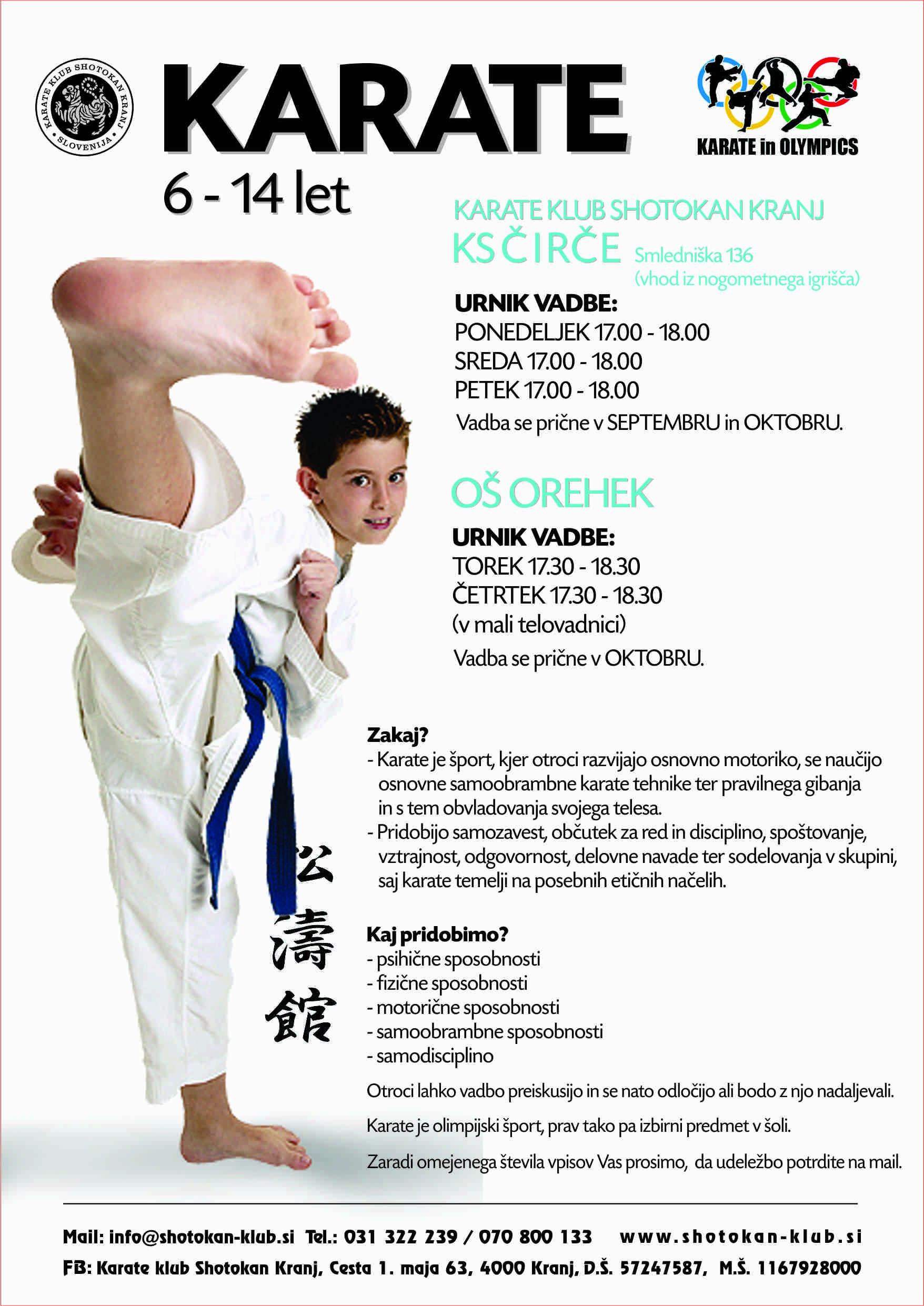 Karate na vaši šoli - Čirče in Orehek